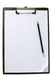 Clipboard with blank paper and pencil Royalty Free Stock Photography