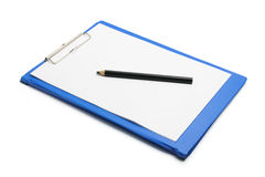 Clipboard with Blank Paper and Pencil Stock Image
