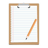 Clipboard with blank paper and pensil Royalty Free Stock Photography