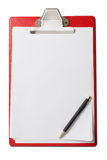 Clipboard with blank paper sheets and pen isolated Stock Photography