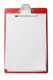 Clipboard with blank sheets of paper isolated with Royalty Free Stock Photography