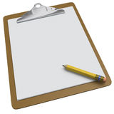 Clipboard with blank white page and pencil Royalty Free Stock Photo