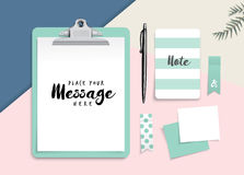 Clipboard with blank white paper and stationery. Set of stationery and clipboard with blank white paper for your design in flat lay style royalty free illustration