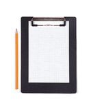 Clipboard with blank white piece of paper and black pencil Stock Photos