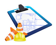Clipboard with a blueprint sketch Royalty Free Stock Images