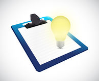 Clipboard and bright light bulb illustration Royalty Free Stock Photo
