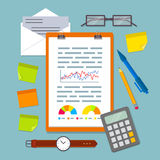 Clipboard with business plan charts. Stock Photos