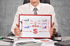 Clipboard with business scheme Stock Photo