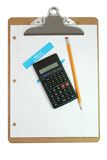 Clipboard, Calculator, Pencil, Name Tag, and Paper Royalty Free Stock Photo