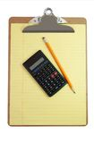 Clipboard, Calculator, Pencil, and Paper Royalty Free Stock Images