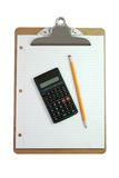 Clipboard, Calculator, Pencil, and Paper Stock Photography