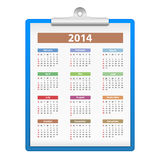 Clipboard with 2014 Calendar. On white background Stock Photography