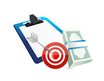 Clipboard cash target concept illustration design Royalty Free Stock Photography