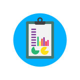 Clipboard and charts flat icon. Round colorful button, Financial infographic circular vector sign, logo illustration. Flat style design Stock Photos