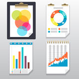 Clipboard, charts and graphs on paper page. Clipboard with financial infographic icons. Clipboard, charts and graphs on paper page Stock Photos