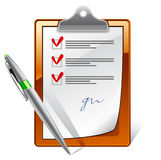 Clipboard with check boxes and pen Royalty Free Stock Image