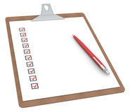 Clipboard with Checklist X 10 and Pen. Royalty Free Stock Image