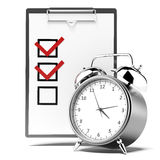 Clipboard with checklist and alarm clock Royalty Free Stock Photos