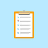 Clipboard with checklist icon. Flat style. Vector illustration. Clipboard with paper sheets on white. Vector illustration Royalty Free Stock Images