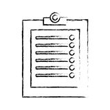 clipboard with checklist icon image sketch line Stock Image
