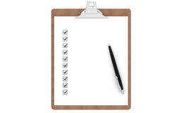 Clipboard with Checklist and  Pen. Clipboard with Checklist and Pen. Front view Royalty Free Stock Photos