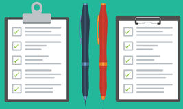 Clipboard with checklist and pen. Flat color vector graphic Royalty Free Stock Image