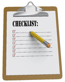 Clipboard with checklist and stubby pencil. Clipboard with checklist and stubby yellow pencil on white background Stock Photos
