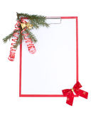 Clipboard with Christmas decoration Stock Image