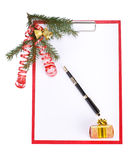 Clipboard with Christmas decoration Stock Photography