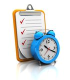 Clipboard with clock. On white background, 3d image Royalty Free Stock Photography