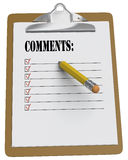 Clipboard with comments and stubby pencil. Clipboard with comments checklist and yellow stubby pencil on white background Royalty Free Stock Photography