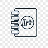 Clipboard with A+ concept vector linear icon on transpa vector illustration
