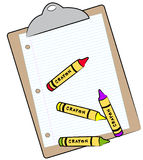 Clipboard and crayons Royalty Free Stock Photo