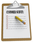 Clipboard with Customer Survey  message and checkboxes Stock Images
