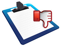 Clipboard Dislike Icon. Thumb down Sign Stock Photography