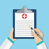 Clipboard in doctors hand. Royalty Free Stock Images