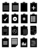 Clipboard documents icons set Stock Image