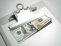 Clipboard with dollar bills Royalty Free Stock Image