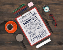 Clipboard with Drawing business Concept Stock Photos