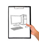 Clipboard and drawing compute Royalty Free Stock Images
