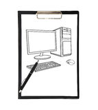 Clipboard and drawing computer Royalty Free Stock Photo