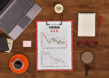 Clipboard with Drawing crisis chart Stock Photography