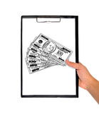Clipboard with drawing dollars Royalty Free Stock Image