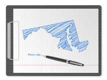 Clipboard Maryland map. Clipboard with drawing Maryland map. Vector illustration Stock Images