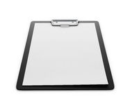 Clipboard with an empty sheet of paper  on the white bac Stock Photo