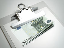 Clipboard with euro bills Royalty Free Stock Photo
