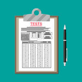 Clipboard with exam test answer sheet and pen. Clipboard with exam test answer sheet with pen. Flat style vector illustration Royalty Free Stock Image