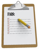Clipboard with FAQs checklist and stubby pencil. Clipboard with FAQs as checklist with stubby yellow pencil on white background Royalty Free Stock Image