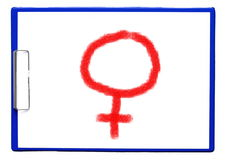 Clipboard with female symbol Stock Photos
