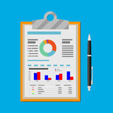 Clipboard with financial reports and pen. Spreadsheet concept. clipboard with financial reports and pen. vector illustration in flat design Stock Photo